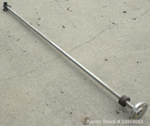 Used- Agitator Shaft, 316 Stainless Steel. 1'' Diameter x 62-3/4'' long shaft with a 3'' diameter plastic impeller. 4-3/4'' ...