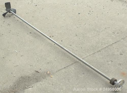 "Used- Agitator Shaft, 316 Stainless Steel. 1"" Diameter x 83"" long shaft with a 10"" diameter plastic impeller. 4-3/4"" O.D. (4..."