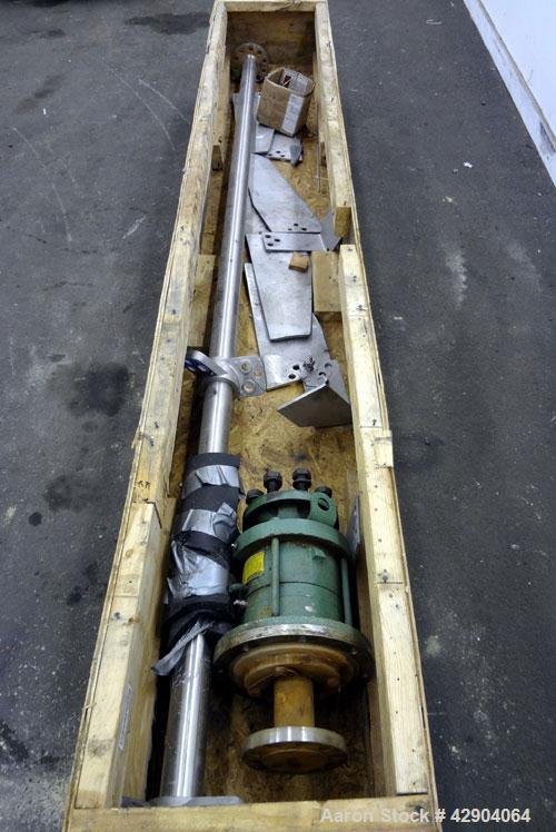 "Used- Lightnin Agitator Shaft, 316 Stainless Steel. Approximate 2-1/2"" diameter x 114"" long. (2) 3 Blade bolt on turbines. A..."