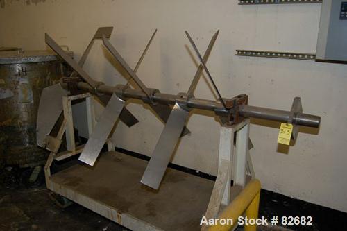 """Used- Agitator Shaft, Stainless Steel. 3"""" diameter x 84"""" long shaft. (6) 49"""" diameter 2 blade turbines. Blades are adjustabl..."""