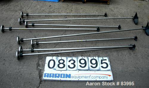 "Used- Agitator Shaft, 316 Stainless Steel.  1"" diameter x 83"" long with 10"" diameter plastic impeller. 4-3/4"" OD. 4 hole mou..."