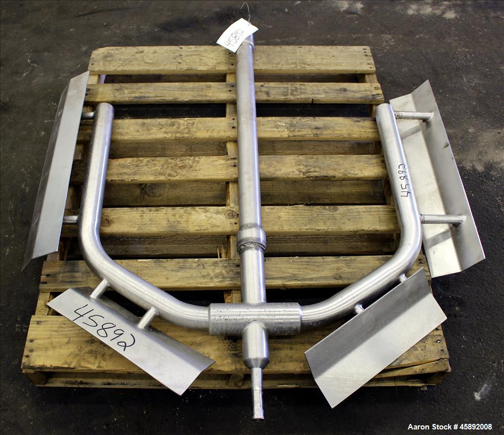 "Used- Anchor Style Agitator with Sidewall and Bottom Deflector Blade, Bottom Supported, 316 Stainless Steel. 2-1/2"" Diameter..."
