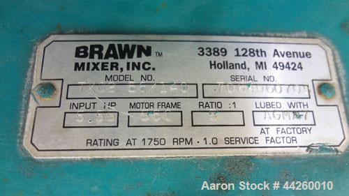 Used- Brawn Fixed Mount, Open Tank Design Agitator, Model BGMF 150