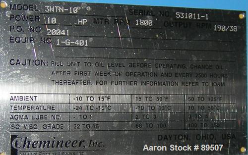 "Unused- Chemineer Top Entering Agitator, Model 3HTN-10, closed tank design. 190/38 output rpm. 3"" diameter x 115"" long Incon..."