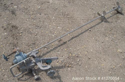 """Used- GastAir Operated Clamp On Agitator, Model 4AM-FRV-158. 5/8"""" diameter x 48"""" long 316 stainless steel shaft with (2) 5""""..."""