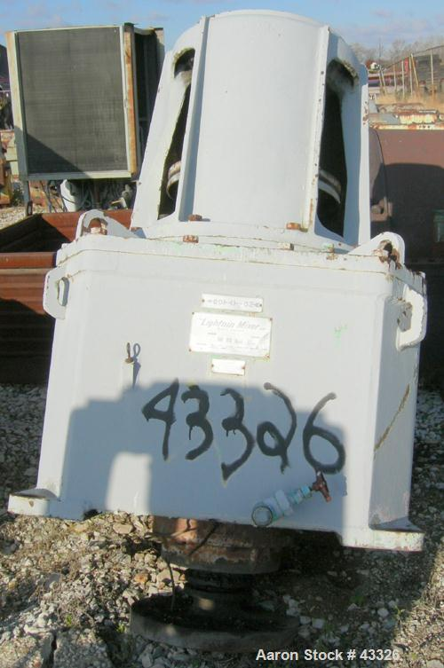 Used- Lightnin Top Entering Agitator, Model 11MTBS-287.2. Closed tank design. Ratio 20.8:1, output rpm 84, 287 hp rating. 20...