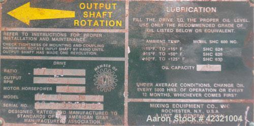Used- Lightnin Series 10 Top Entering Agitator, Model 14Q1. Ratio 17.31 to 1, output 45 rpm. Includes a 2'' diameter x appro...