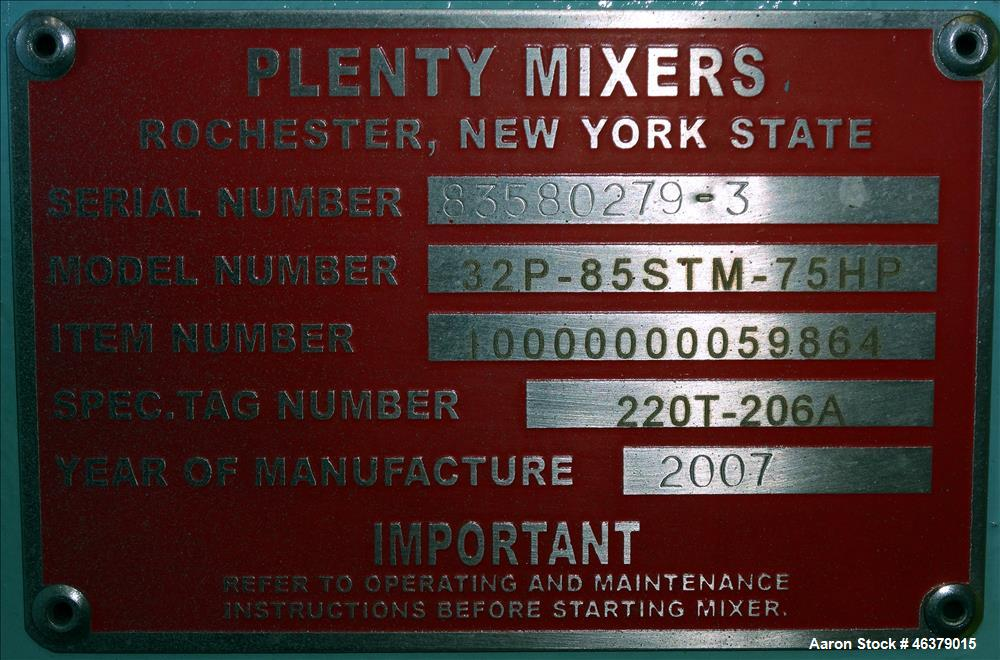 Unused- Plenty Mixers Side Entering Agitator, Model 32P-85STM-75HP, Carbon Steel