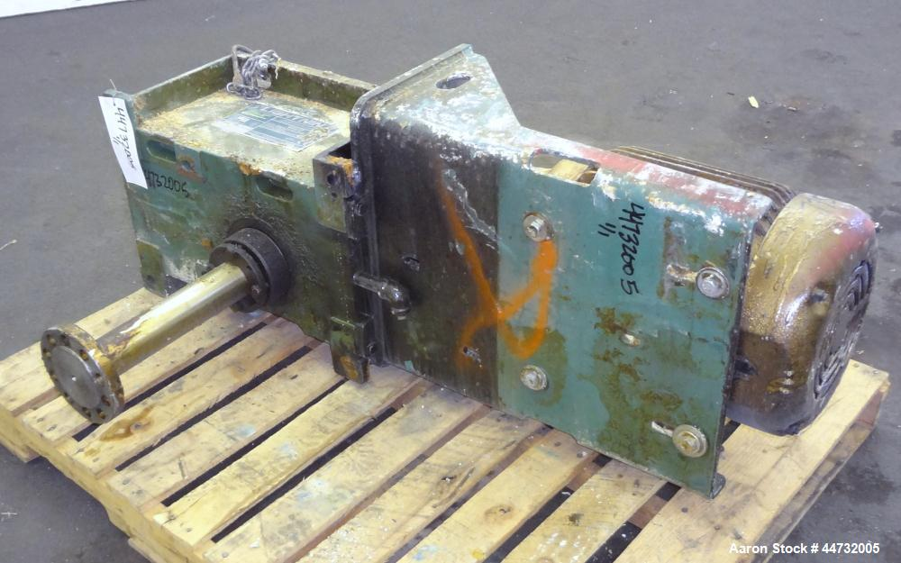 Used- Lightnin Fixed Mount, Open Tank Design Agitator, Model 5040S15T. Ratio 16.7 to 1, output 100 rpm. Driven by a 15 hp, 3...