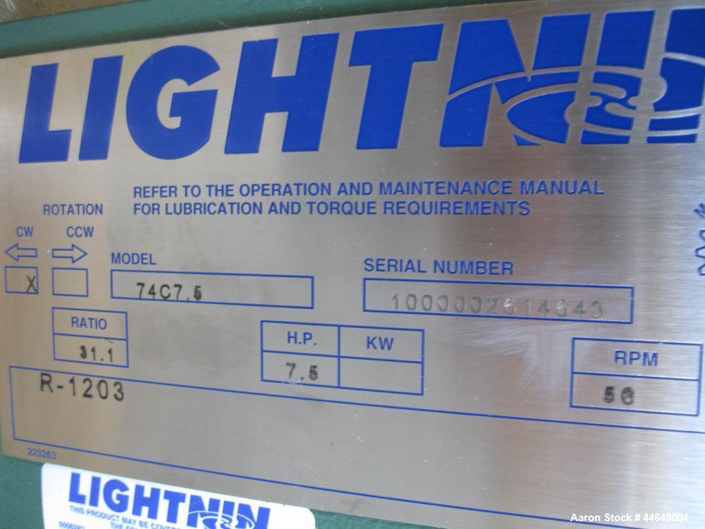 Unused- Lightnin Agitator, Model 74C7.5. Clockwise rotation. Ratio 31.1 to 1, output 56 rpm. Includes a 7.5 hp, 3/60/230/460...
