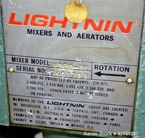 """Used- Lightnin Top Entering Agitator, Model N33G-90. 1-1/4"""" Diameter x approximate 90"""" long 304 stainless steel shaft with a..."""