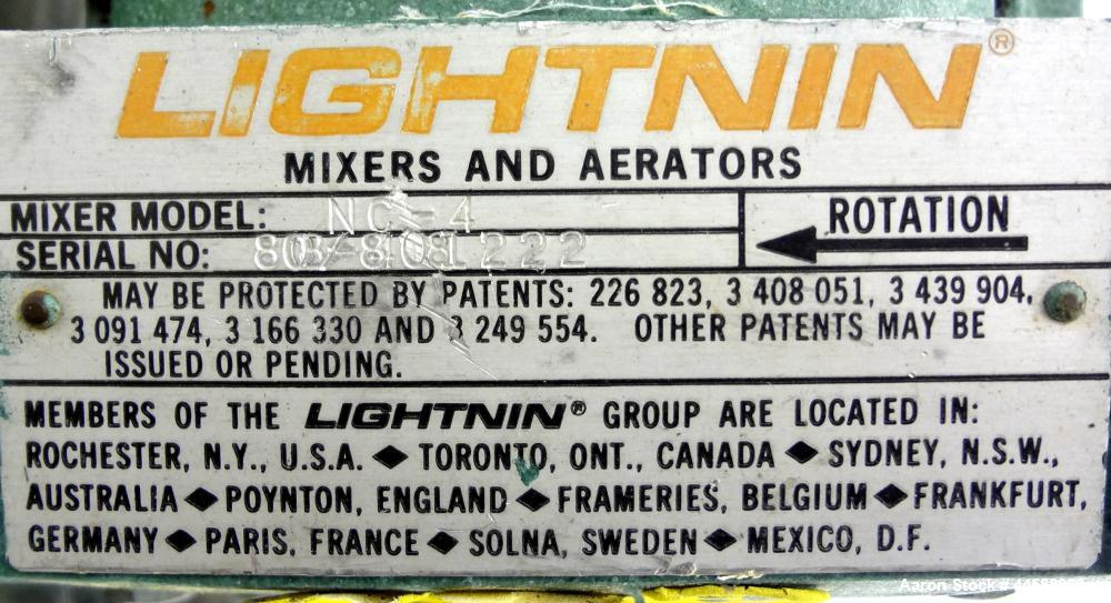 """Used- Lightnin Clamp-On Agitator, Model NC-4.  0.25 Hp, 1/60/115 volt, 1725 rpm motor.  Requires an approximately 1/2"""" diame..."""
