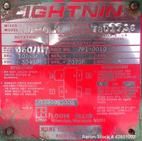 "Used- Lightnin Clamp On Agitator, Model ND-4V. 1"" Diameter x 54"" long, 304 stainless steel shaft with (2) 316 stainless stee..."