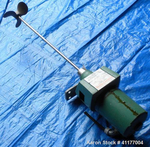"Used- Lightnin Top Entering Agitator, Model NDO-25. 1/2"" diameter x 27"" long, 316 stainless steel shaft with a 7"" diameter 3..."