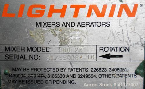 "Used- Lightnin Top Entering Agitator, Model NDO-25. 1/2'' diameter x 27 1/2"" long, 316 stainless steel shaft with a 7"" diame..."