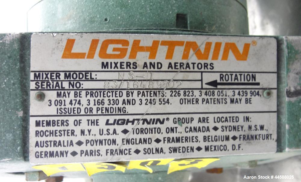 "Used- Lightnin Clamp-On Agitator, Model NS-1.  0.30 Hp, 1/60/115/230 volt, 1725 rpm motor.  Requires an approximately 1/2"" d..."