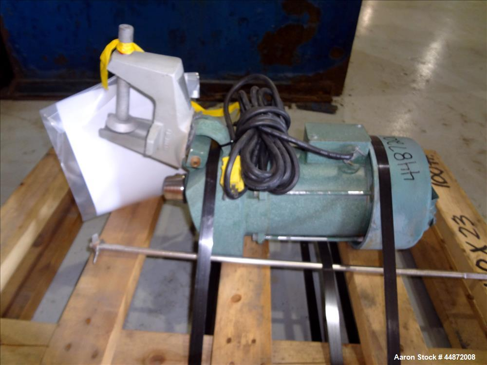"""Used- Lightnin agitator, Model NS-1. Approximately 1/2"""" diameter shaft with a 3 blade turbine, driven by a 0.33 hp, 1/60/115..."""