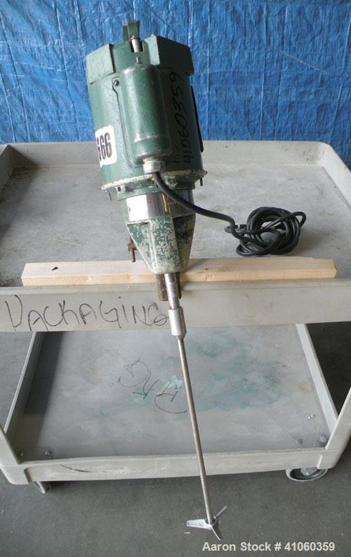 "Used- Lightnin Clamp-On Small Scale Batch Mixer, Model S1U10. 3/8"" diameter x 13"" long 316 stainless steel shaft with a 3"" d..."