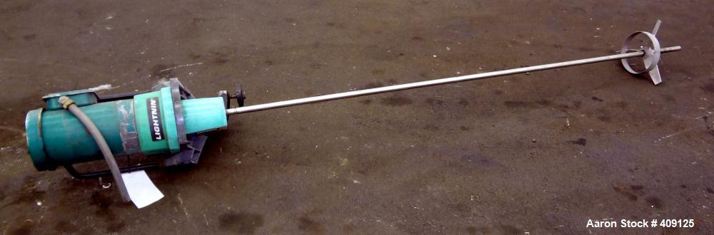 "Used- Lightnin Clamp On Agitator, Model V5P18. 316 Stainless steel shaft 3/4"" diameter x 72"" long with a 3 blade turbine. Dr..."