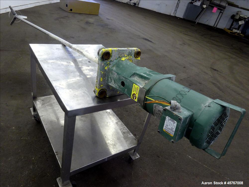 "Used- Lightnin Agitator, 316 Stainless Steel Shaft, 101"" long x 1-1/4"" diameter shaft with 10"" diameter (3) blade turbine Dr..."