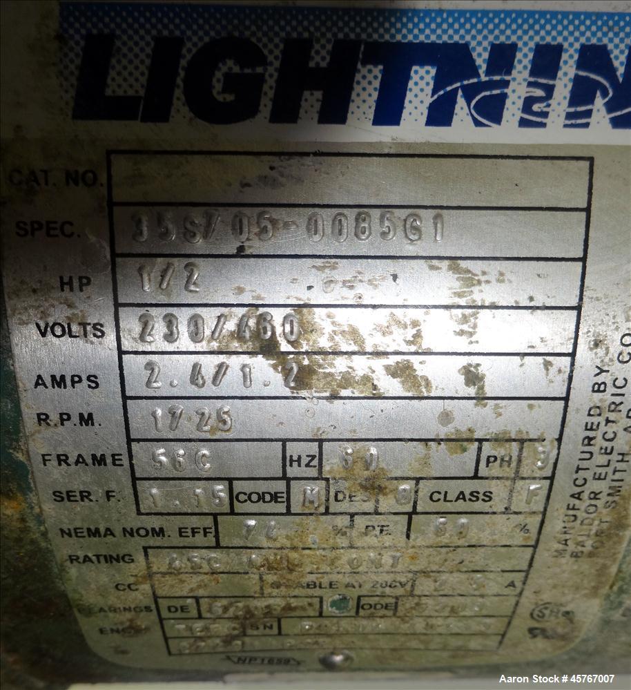 "Used- Lightnin Agitator, 316 Stainless Steel Shaft, 77-1/2"" long x 1"" diameter shaft with 6-1/2"" diameter (3) blade prop. Dr..."