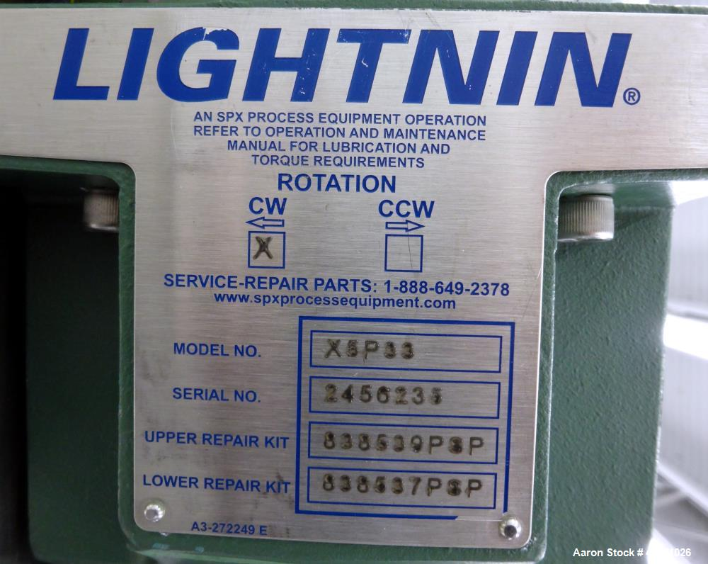 """Used- Lightnin Clamp On Agitator, Model X5P33. 0.33hp, 3/60/208-230/460 Volt, 1725 rpm motor. Set up for an approximate 3/4""""..."""