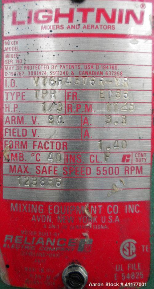 "Used- Lightnin Top Entering Agitator, Model XJ-33VM. 1/2"" diameter x 32"" long 316 stainless steel shaft with a 3 blade turbi..."