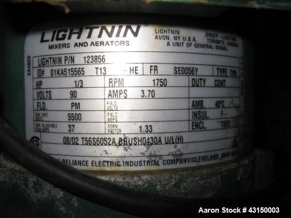 """Used- Lightnin Clamp Mount Agitator, Model XJ30VM. 32"""" Long stainless steel shaft, 9"""" propeller type blade, 1/3 HP 90 volt D..."""