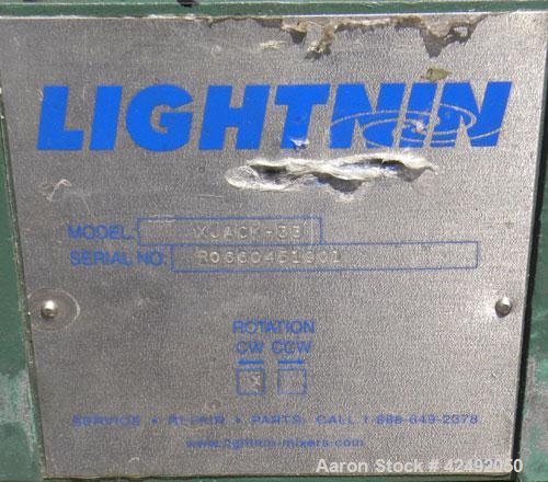 Used- Lightnin Fixed Mount, Open Tank Design, Air Operated Agitator, Model XJACK-33. Clockwise rotation. Approximate 4 diame...
