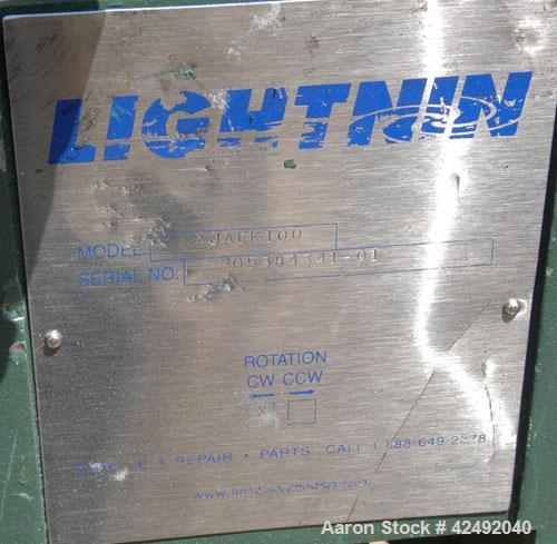 Used- Lightnin Fixed Mount, Open Tank Design Air Operated Agitator, Model XJACK100. Clockwise rotation. Approximate 4'' diam...