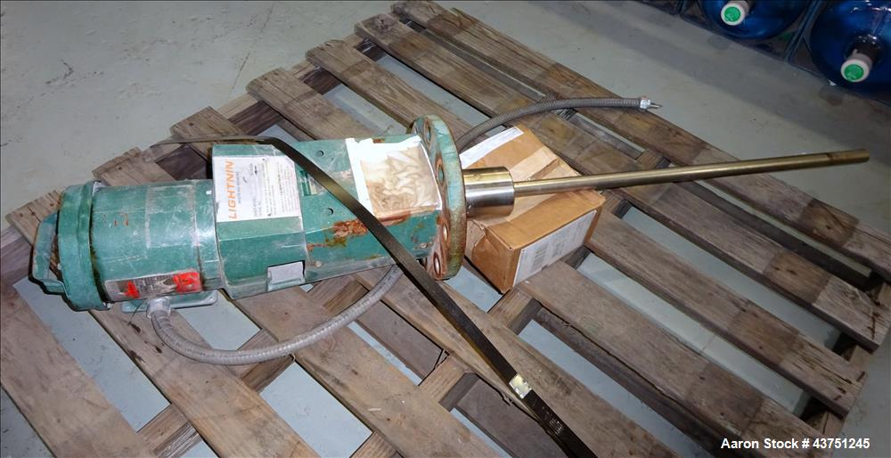 """Used- Lightnin Agitator, Model XJC-30. 1"""" Diameter x 28"""" long stainless steel shaft with a 3 blade turbine, driven by a 0.30..."""