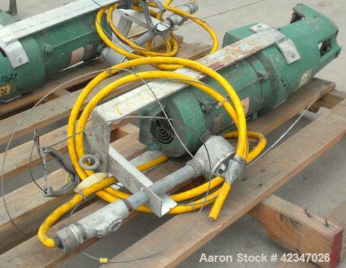 "Used- Lightnin Top Entering Agitator, Model XJCK-43XP. 4"" diameter stub shaft mountingflange. Driven by a .43 hp, 1/60/50/11..."