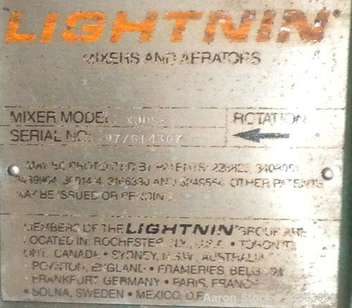 Used- Lightnin Closed Tank Design Top Entering Agitator, Model XJDS