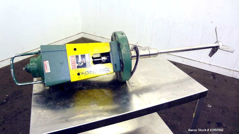"""Used- Lightnin Air Operated Agitator. Flange mounted, approximate 1"""" diameter x 22"""" long 316 stainless steel shaft with a 3 ..."""