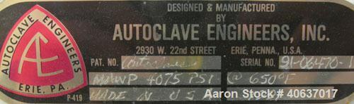 """Used- Autoclave Engineers Reactor,1 Gallon,Inconel 625, Vertical. 4"""" Diameter x 12"""" straight side. Flat bolt on top, dishe..."""