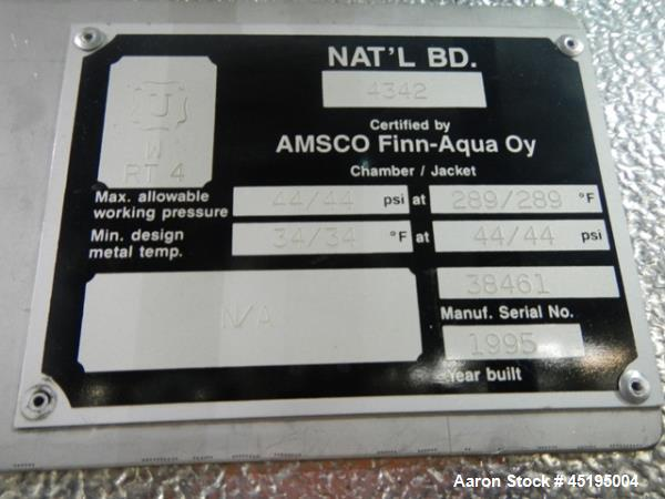 Used- Stainless Steel Finn Aqua Sterilizer, Model 91218