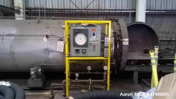 Used- Melco Steel Autoclave. Single door. Approximately 5' diameter x 60' long. Max water pressure 100 PSI at 400 degrees fa...