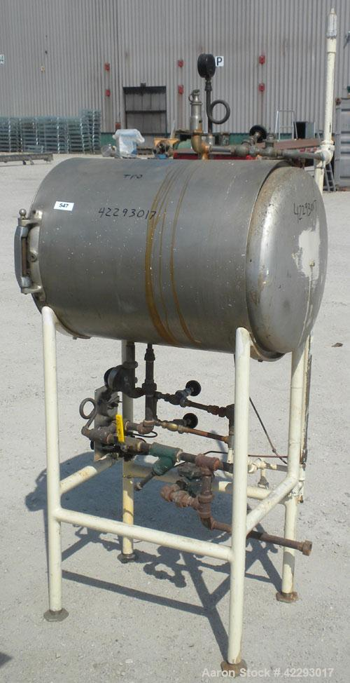 "Used- Cylinderical Autoclave, Copper. 21"" Diameter x 30"" deep horizontal non-jacketed chamber. Hinged front door. Includes a..."