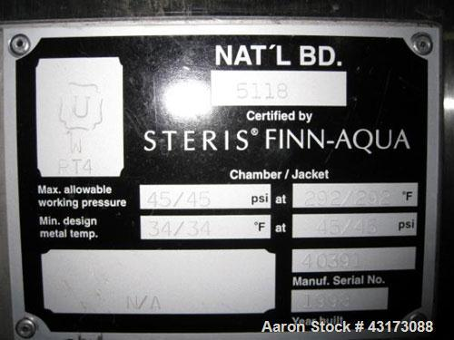 "Used- Steris Finn Aqua Steam Sterilizer, Model 61212-D-C-GMP, Stainless Steel Construction. 26"" Wide x 49"" high x 49"" long i..."