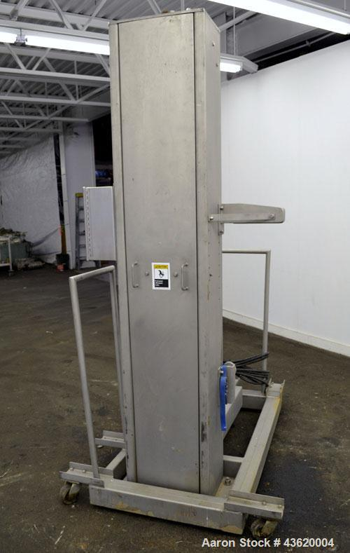 "Used- A-One Manufacturing Workhorse Line Bag Lift/Dumper, Model CDL-52-400PB, 304 Stainless Steel. Platform approximate 20"" ..."