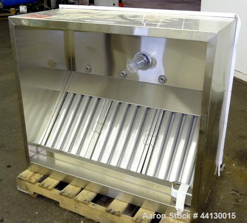 Used- Greenheck Baffle Filter Canopy Hood, Wall Style, Exhaust Only with Single Wall Front, Model GHEW-4.00-S, 304 Stainless...