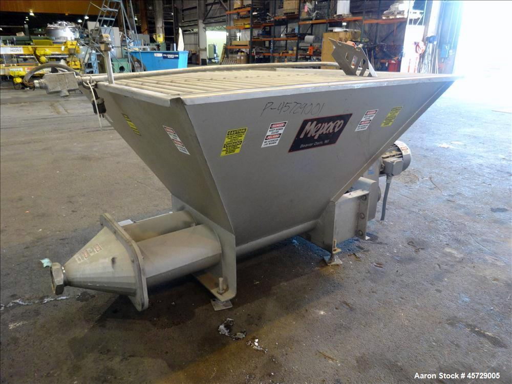 """Used-Mepaco Dual Auger Feeder, Model 105, 3,000 pound capacity, 304 Stainless Steel. Hopper is 60"""" long x 64"""" wide x 36"""" dee..."""