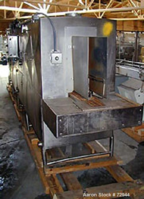 """USED: Sani-Matic stainless steel tray washer. 10"""" wide x 20' long stainless steel mesh belt with 33"""" lug spacing. Driven by ..."""