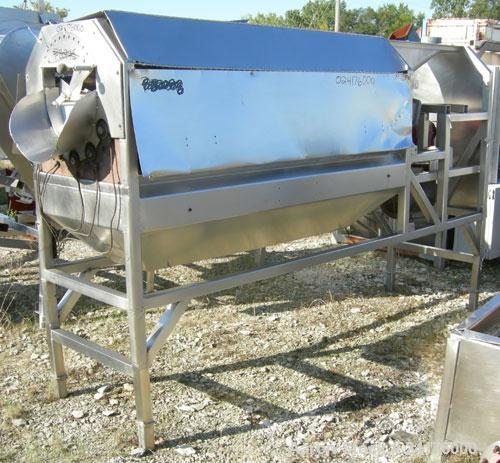 "Used- Vanmark Equipment Peeler/Scrubber/Washer, 304 stainless steel. (6) approximately 5"" diameter x 69"" long rollers, drive..."
