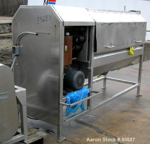 """Used- Vanmark Continuous Brush Potato Peeler. 304 stainless steel housing, approximately 18"""" diameter x 72"""" long rollers. To..."""