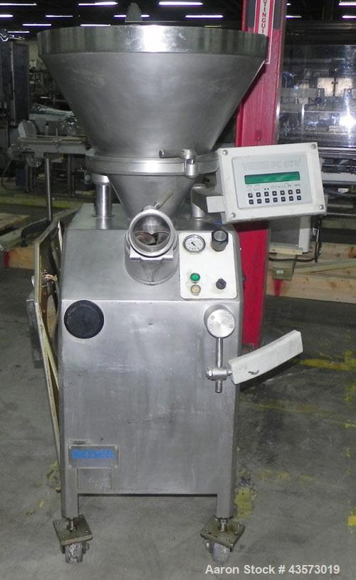 Used- Vemag Reiser Continuious Vacuum Filler, Model Robot 500, Type 128/90. Filling rate up to 2,500 kg/hr depending on feed...