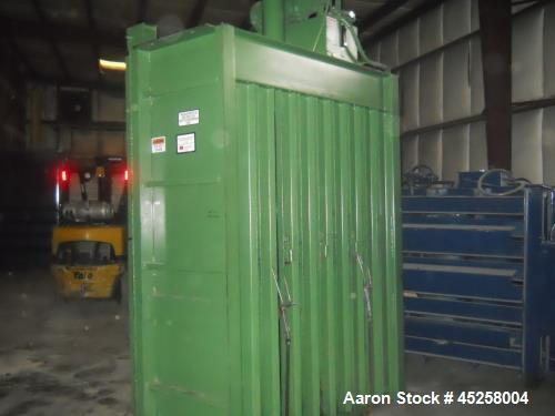 "Used- PTR 7230 Vertical Downstroke Baler. Dimensions: 95"" wide x 43"" deep x 99"" high. Motor: 15 hp, cylinder: 6"", bale size:..."