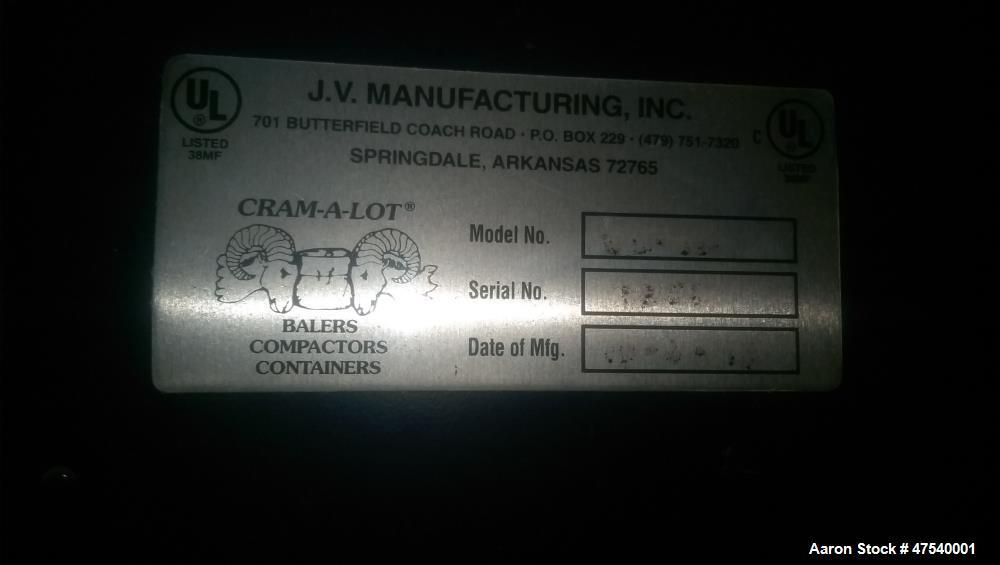 """Used- JV Manufacturing 72"""" Cram-A-Lot Vertical Baler."""