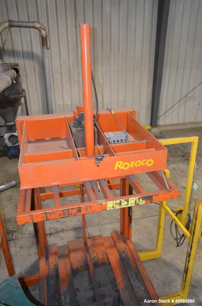 """Used- Roeqco Rolling Equipment Company Hydraulic Powered Cardboard Baler, Model HP115-72-252. Single ram, approximate 60"""" wi..."""