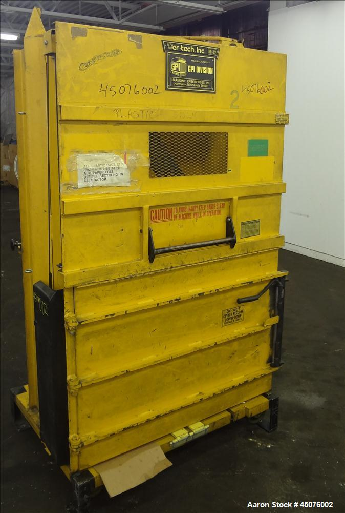 Used- Carbon Steel Harmony Enterprises Ver-Tech Vertical Baler, Model M42BC